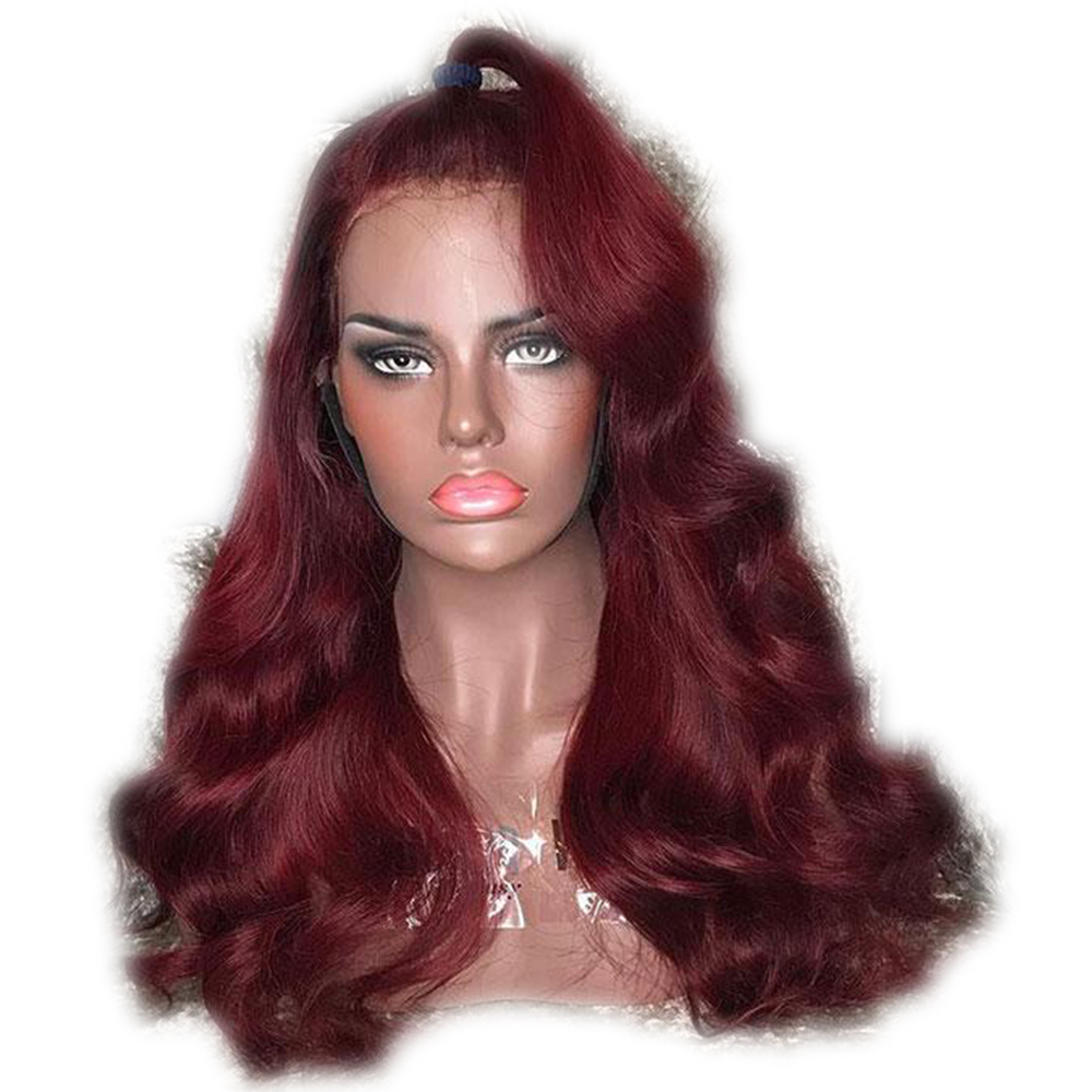 Eversilky Burgundy 99j Red  Color 13x4 Lace Front Wigs Human Hair Body Wave Brazilian Remy Glueless Pre Plucked With Baby Hair
