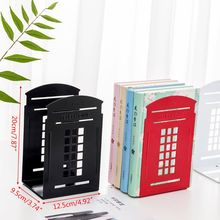 1 Pair Telephone Booth Bookends Book Stand Support Non Slip Rack Shelf Holder