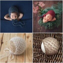 Мягкий мохеровый вязаный детский головной убор ручной вязки для новорожденных фотографический реквизит для мальчиков и девочек