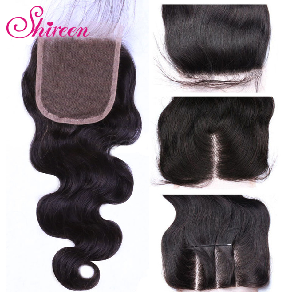 Shireen Remy Hair 4x4 Lace Closure Brazilian Body Wave Hair Natural Color 8-20inch Human Hair Free/Middle/Three Part Closure