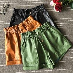 Vrouwen brand nieuwe hoge kwaliteit echt leer brede-been korte broeken Chic vrouwen schapenvacht leer losse shorts A954