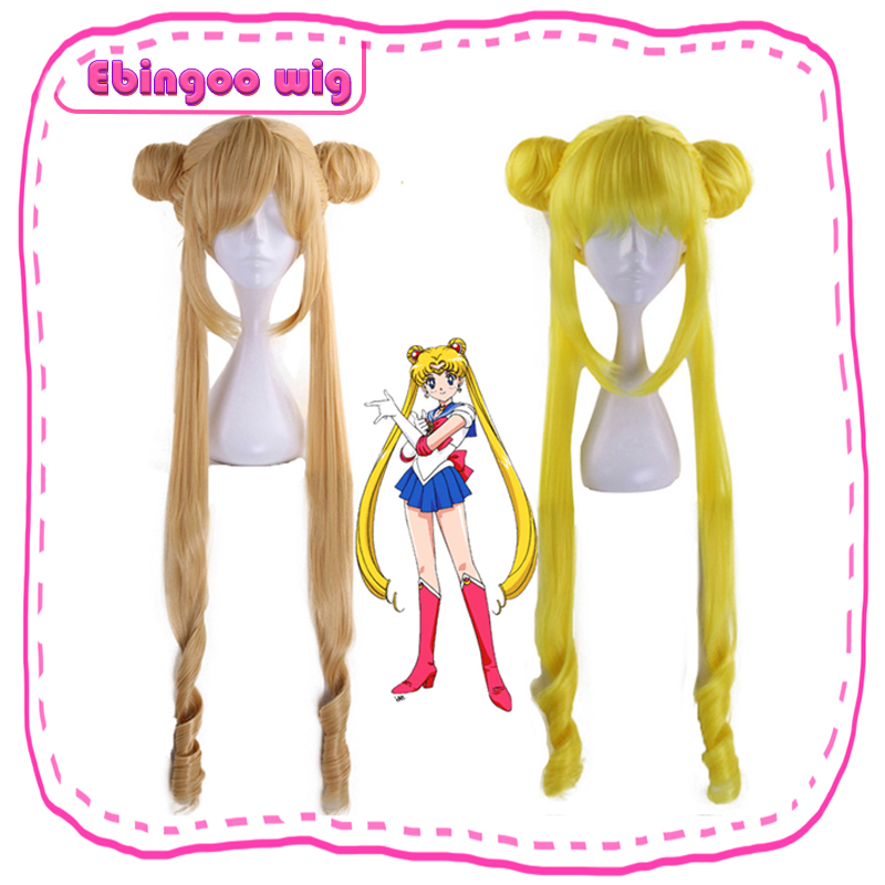 Ebingoo Sailor Moon Double Ponytail Long Straight Blonde Lemon Yellow Synthetic Cosplay Wig For Halloween Costume Party