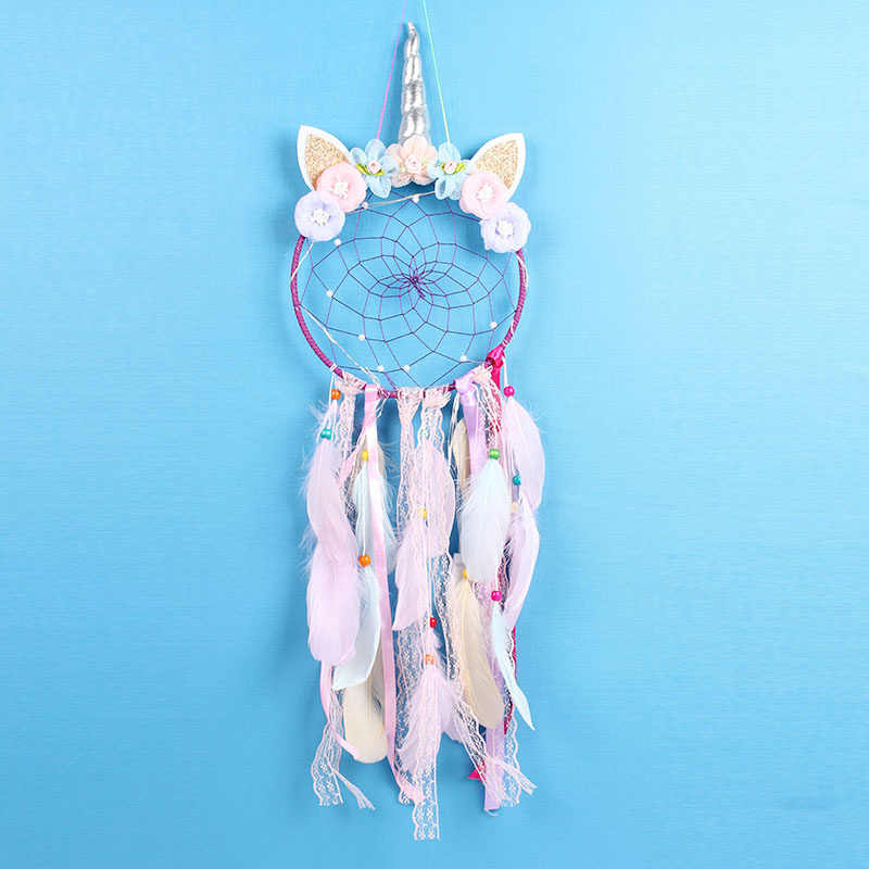 Unicorn Dream Catcher Pink Feather Handmade Dream Catchers For Girls Kids Nursery Bedroom Wall Hanging Decoration Blessing Gift Aliexpress