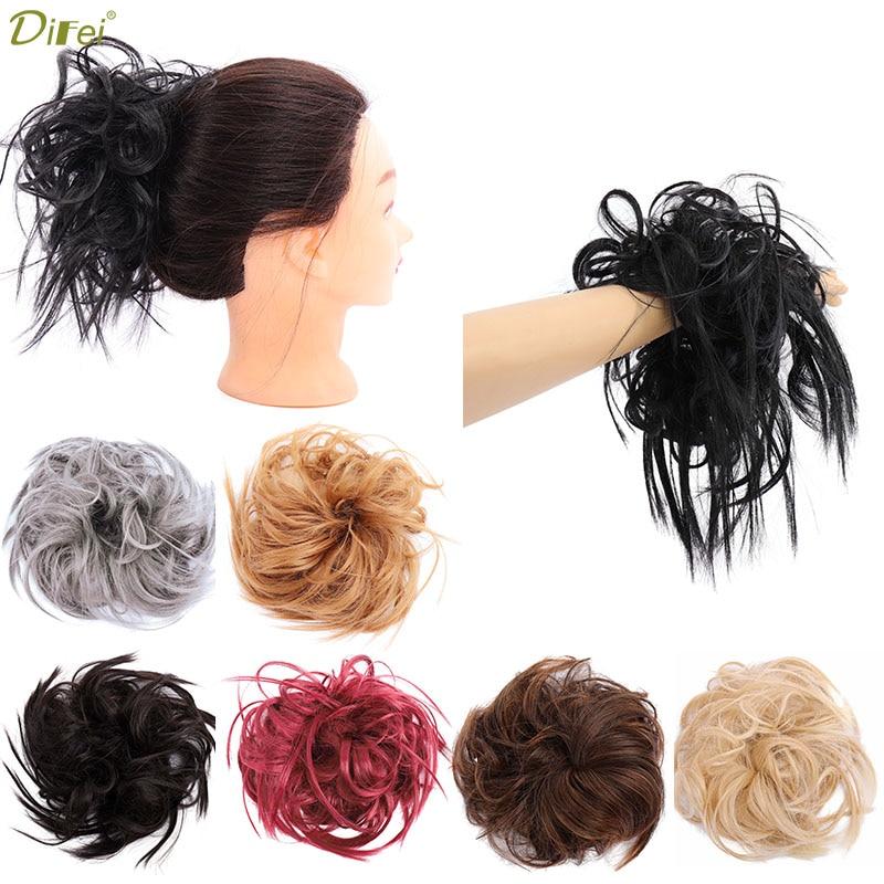 DIFEI 45g Hair Band Rubber Band Chignon Donut Hairbun Synthetic Hair Extension High Temperature Fiber Wig For Women