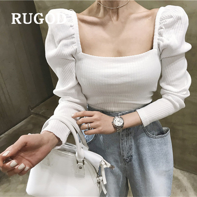 RUGOD 2019 New Autumn Solid Women's Sweater Pullover Square Collar Long Sleeve Slim Vintage Knit Shirt Fashion Femme Elegant Top
