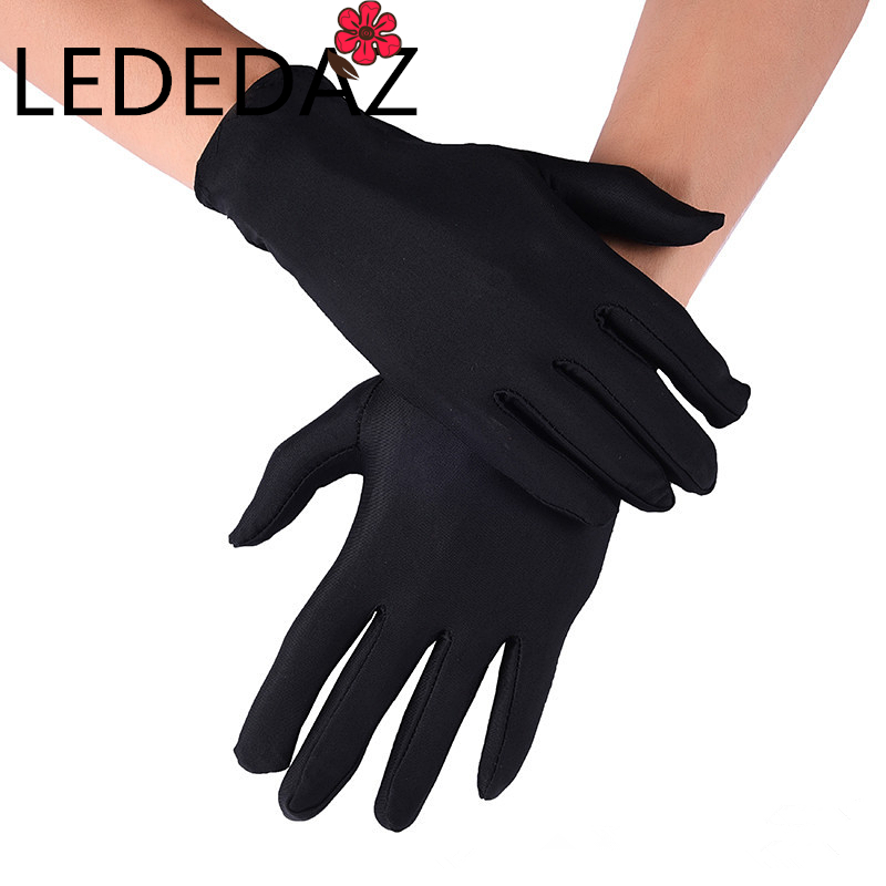 1 Pair Men's Elastic Spandex Wrist Gloves Full Fingers Thin Driving Gloves White Black 22cm Guantes Hombre Formal Party Gloves