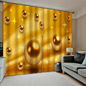 3D Blackout Curtains gold ball Photo Curtains For Living Room Bedroom Luxury KTV Hotel Home Decor Drapes