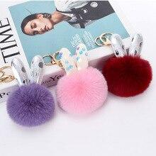 цена Wholesale Keychain Cute Rabbit Ears Creative Plush Bag Key Chain Key Chain Fur Ball Pendant Car Hanging Decoration Keyring онлайн в 2017 году