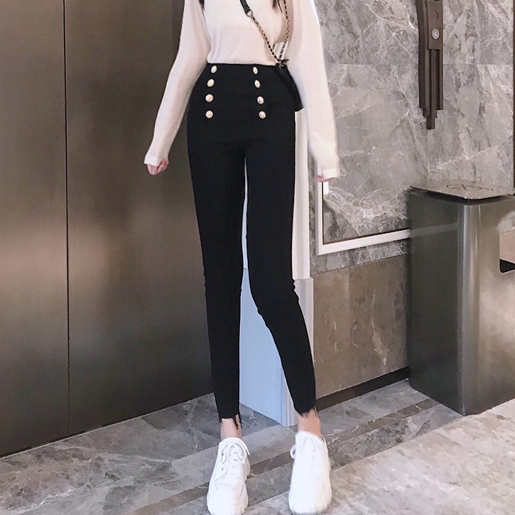High-waisted Metal Double Breasted Belly Holding Black Jeans Women's Slimming Tight-Fit Skinny Pants 2019 New Style Fashion Autu