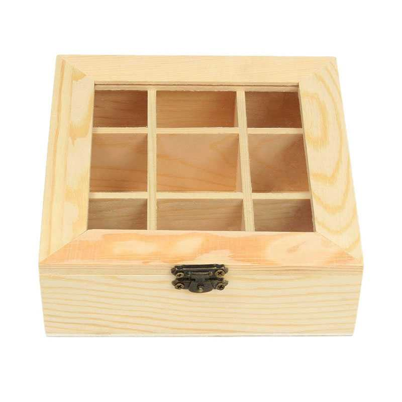 Wooden Tea Bag Jewelry Organizer Chest Storage Box 9 Compartments Tea Box Organizer Wood Sugar Packet Container