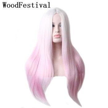 WoodFestival Weibliche Wärme Beständig Ombre Synthetische Perücke Lange Gerade Haar Cosplay Perücken für Frauen