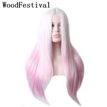WoodFestival kobieta żaroodporne Ombre peruka syntetyczna długie proste włosy Cosplay peruki dla kobiet