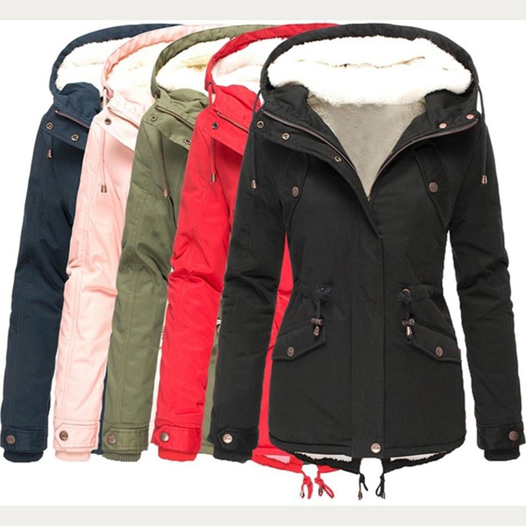 Зимняя женская парка, утепленная однотонная хлопковая пуховая куртка на молнии с длинным рукавом и карманами, пальто, парка для женщин, верхняя одежда Парки      АлиЭкспресс