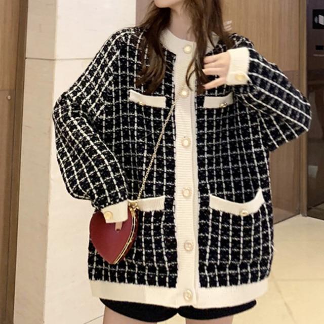 [EWQ] Autumn 2020 New Sweater Coat Retro Shirt Check Long Sleeve Single Breasted Plaid Loose Knit Cardigan Tide Ladies QB321 3