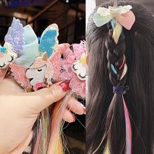 Милый красочный парик для девочек, мультяшный Единорог, заколки для волос, сладкая принцесса, украшение ободок для волос, заколки для волос, Детские Модные аксессуары для волос