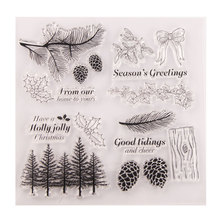 Christmas Tree Branche Stump Leaves Pattern Transparent Clear Stamps / Silicone Seals for DIY Scrapbooking Christmas Card Making