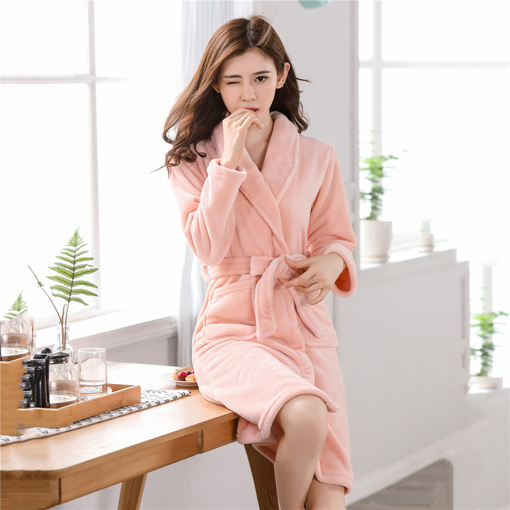 Robe Women Warm Padded Flannel Bathrobe Sleepwear Loose Lounge Sexy Nightgown Kimono Gown Caual Coral Fleece Home Clothing