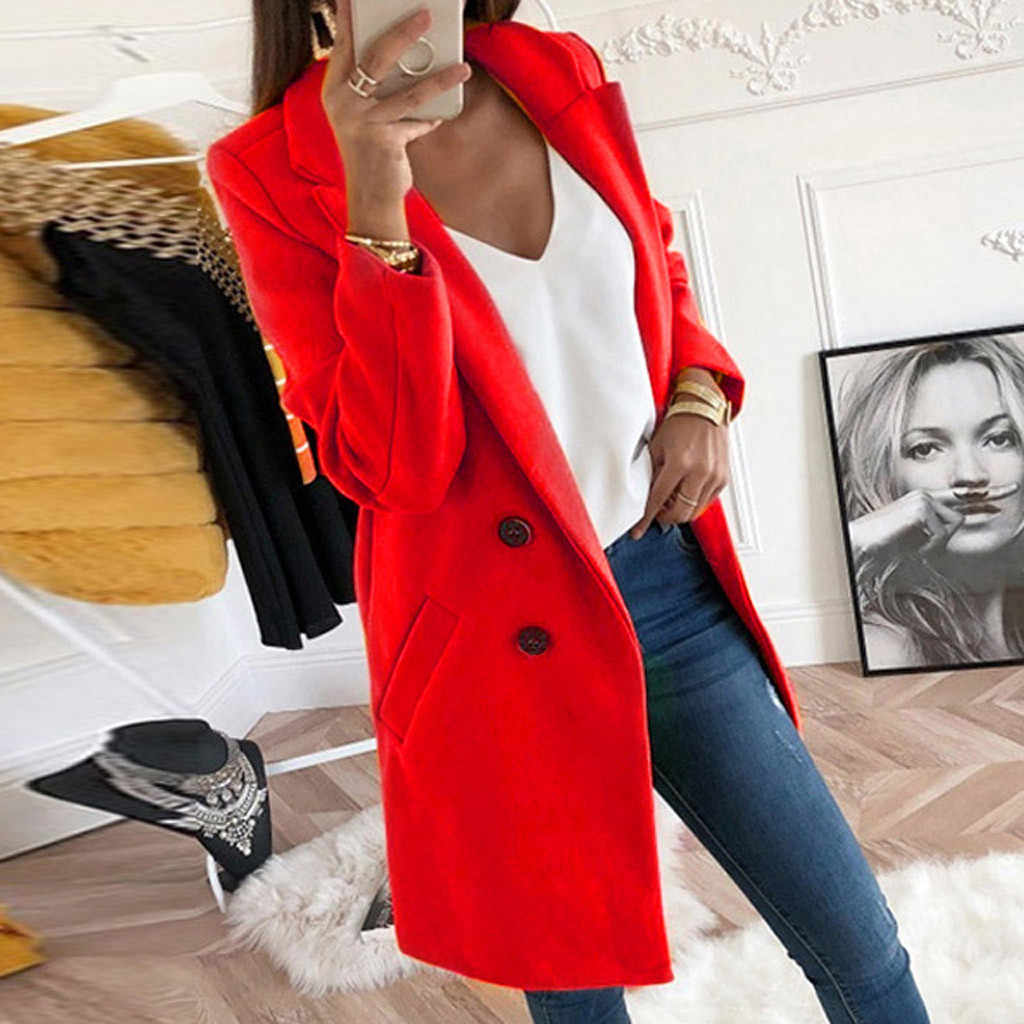 Autumn Winter blend Coat Long Sleeve Turn-Down Collar Oversize suit Outwear Jacket Elegant Overcoats Plus Size Loose fake woolen