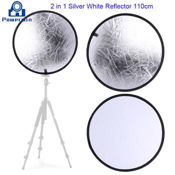 Powerwin 2 w 1 srebrno-biały reflektor 110cm składany dyfuzor płytowy Photo Studio oświetlenie wideo Softbox tło lekki statyw tanie i dobre opinie CN (pochodzenie) 2 in 1 Reflector 110cm ROUND 0 5kg
