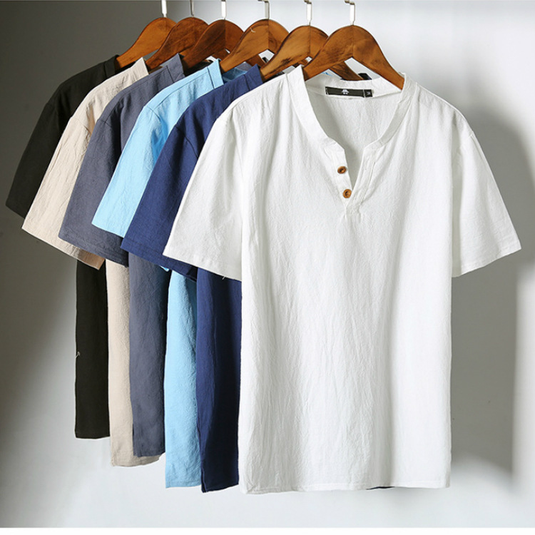 2018 New Style MEN'S Suit Japanese-style Cotton Linen Shorts Short Sleeve V-neck T-shirt Simple Trend Men'S Wear