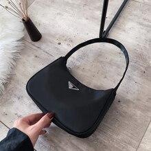 New Fashion handbags for women candy color simple retro high quality nylon baguette bag shoulder bags for women handbag hobos