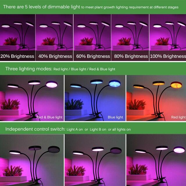 Full spectrum phytolamps dc5v usb led grow light 3w 9w 15w 18w 27w 30w 45w desktop clip phyto lamps for plants flowers grow box