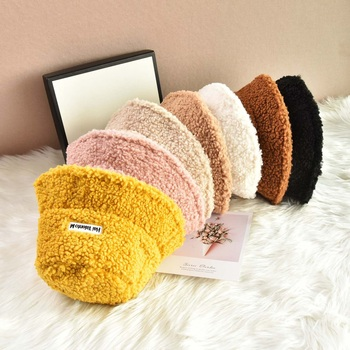Lamb Faux Fur Bucket Hat Thickened Warm Teddy Velvet Winter Hats For Women Lady Bob Panama Outdoor Plush Fisherman Hat image