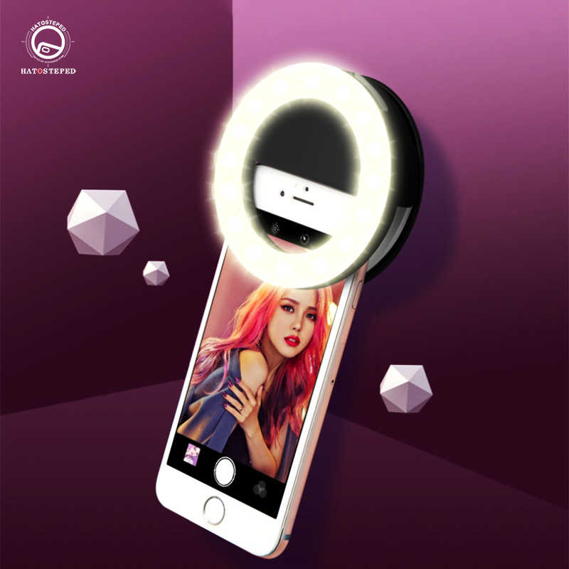 Universal Selfie Lichter LED Ring Flash Light Tragbare Lade Handy Selfie Lampe Leucht Ring Clip Für iPhone 11max 7 8