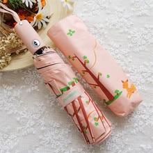 Rainy Umbrella Sunny Small Black Fashion Lovely And LOTOSBLUME 3-Fold Fresh Deer Printing