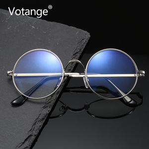 Plain Glasses Frame Fashion Vintage Literary Metal Flat Clear Lens Nerd Geek Eyeglasses Round Eyewear Phone Gaming Goggles E003