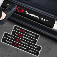Protecteur de seuil de porte de voiture en Fiber de carbone, autocollant pour SsangYong Actyon Turismo Ssang Yong Rodius Rexton Korando Kyron