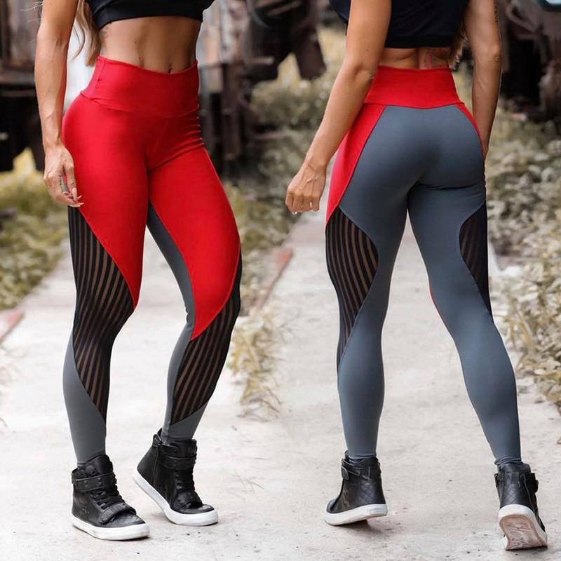 New Fashion Patchwork Leggings Women Gym Workout Sportswear High Waist Legging Femme Sexy Mesh Pants Fitness Roupa Feminina
