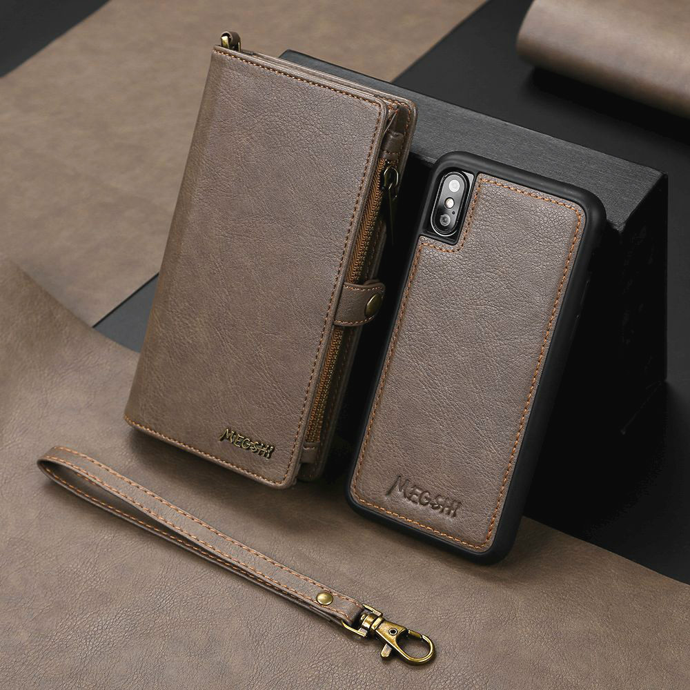 Luxury Movable Multifunction Wallet Case For iPhone 11 Pro Max Xr Xs X 8 Plus 7 Flip Leather Magnetic Cover Phone Zip Card Slots image