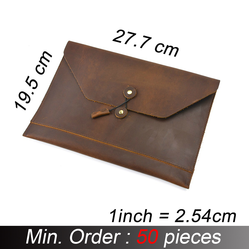 50 Pieces/ Lot Moterm 100% Genuine Leather Men File Envelope Briefcase A4 Business Retro Style Document Portfolio Filing Bag