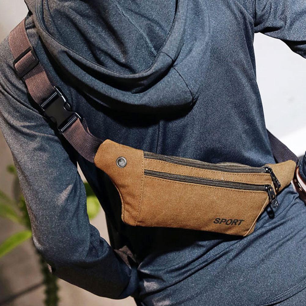 1pcs Outdoor Sports Canvas Waist Bag Waterproof Climbing Phone Chest Men Bag Running Equipment Fitness Waist Women Sports M J7P2