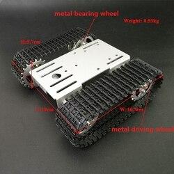 Mini metal t101 inteligente robô tanque chassi rastreado plataforma do carro com 33gb-520 motor para diy robô maker educação rc brinquedo peças