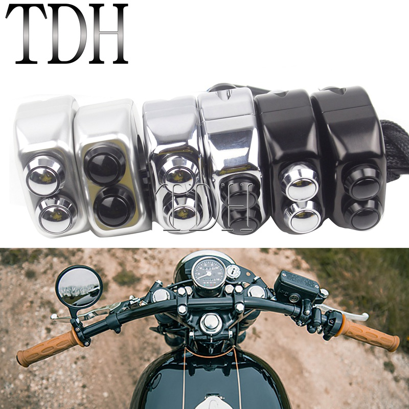 7/8in 1in Handlebar Mount Switch Push Button Cafe Racer On/Off M-unit 3 Switches Starter Horn Light Switch 22mm 25mm Universal
