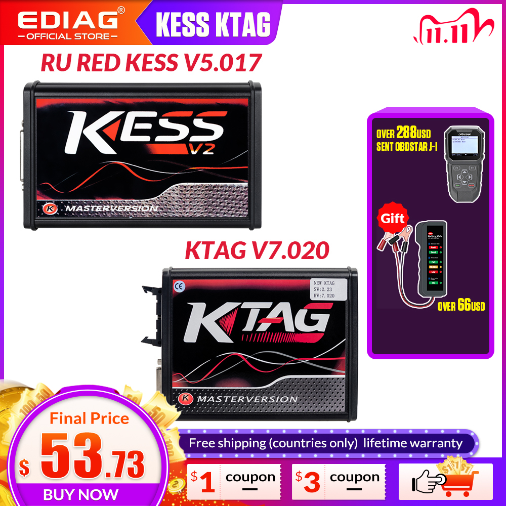 Online EU Red KESS V2 V2 53 V5 017 master No Token  Ktag V7 020 V2 25 4LED  OBD2 ecu chip tuning Manager Tuning Kit