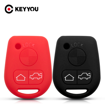 KEYYOU Silicone Key Cover Case For BMW E31 E32 E34 E36 E38 E39 E46 Z3 3 Buttons Straight Remote Car Key Wallet image