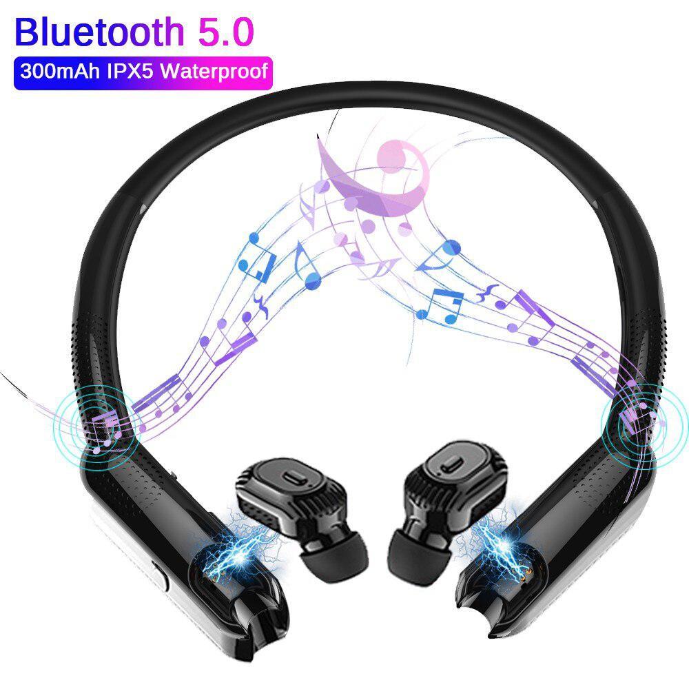 BEESCLOVER XG10 TWS Hanging Neck Earphone Headset 300mAh IPX5 Waterproof Bluetooth 5.0 Stereo Sports Running Fitness Headset D35