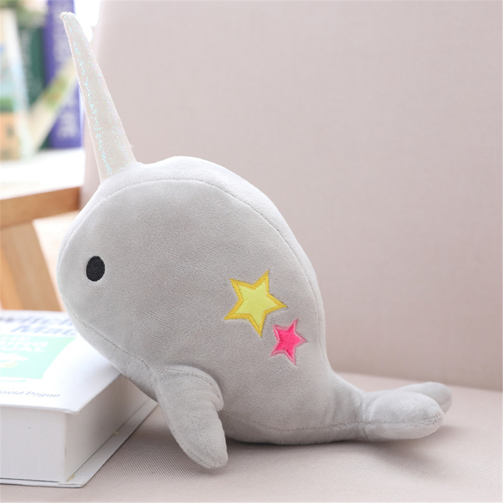 Narwhal Whale Binary Star Doll Plush Toy Soft Animal Ocean Sea Stuffed Toys For Children Christmas Gift Kid Brinquedos Just6F