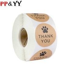 100-500 pces natural kraft papel obrigado você etiquetas selo labes cão pata impressão 1 Polegada presente embalagem papelaria adesivo
