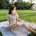 Сезон лето; Новинка; Милые платья с коротким рукавом элегантное платье с цветочным узором из шифона в Корейском стиле, с квадратным вырезом ...