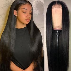 Image 1 - Perucas transparentes 13x4 do cabelo humano da parte dianteira do laço 180% perucas do cabelo humano da parte dianteira do laço com faixa elástica remy brasileiro