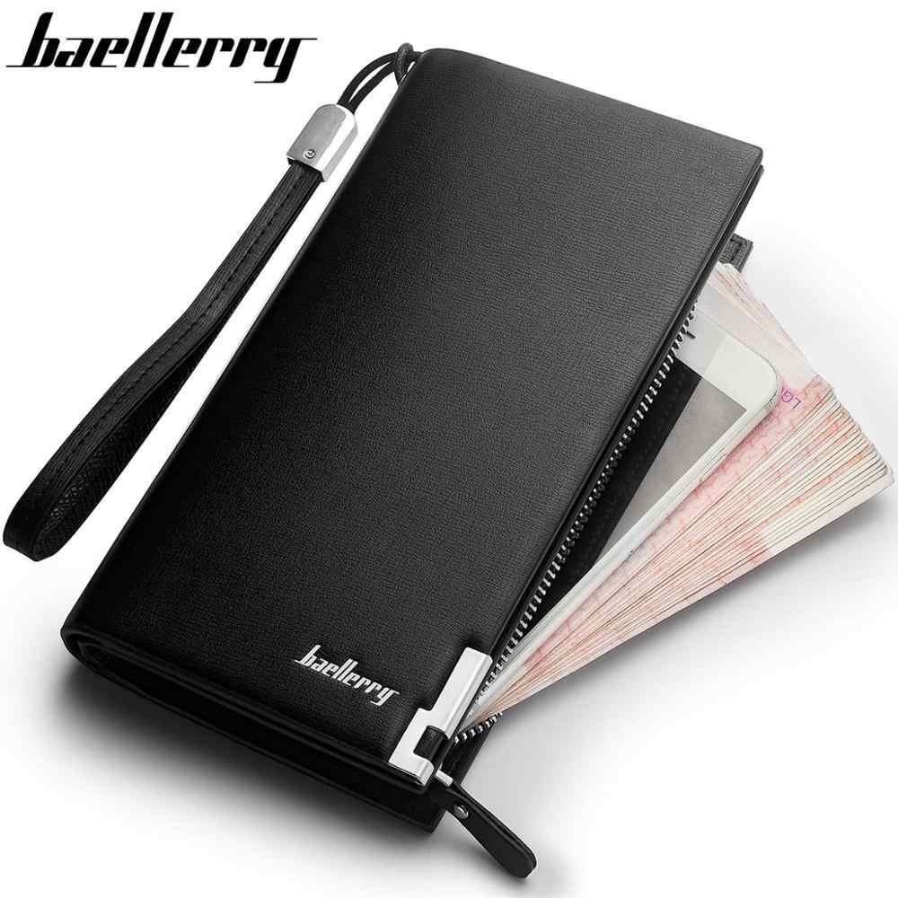 Baellerry hommes portefeuilles classique Long Style porte-carte homme sac à main qualité fermeture éclair grande capacité grande marque luxe portefeuille pour hommes