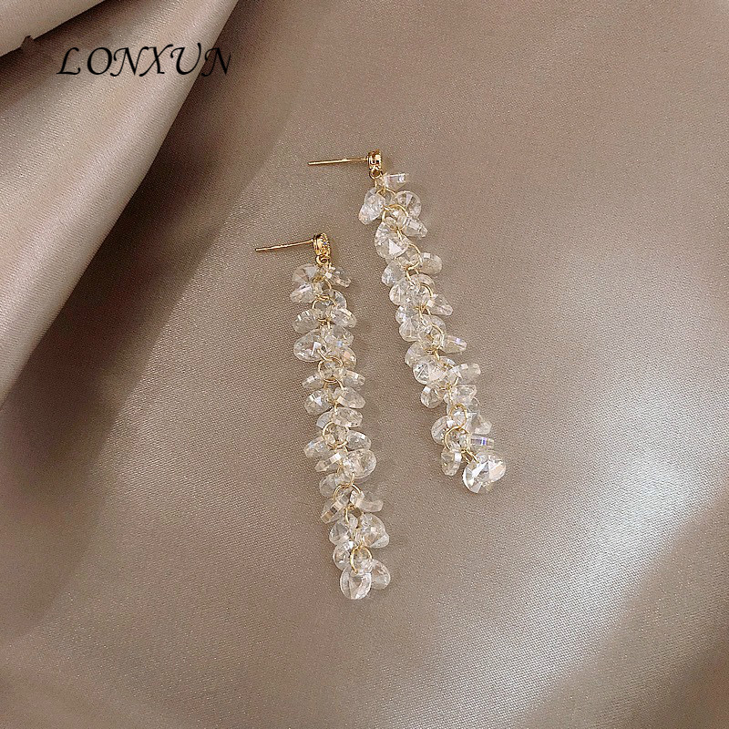 Haute qualité mode coréenne sauvage 925 argent cristal gland boucle d'oreille filles beau tempérament anniversaire présent bijoux accessoires