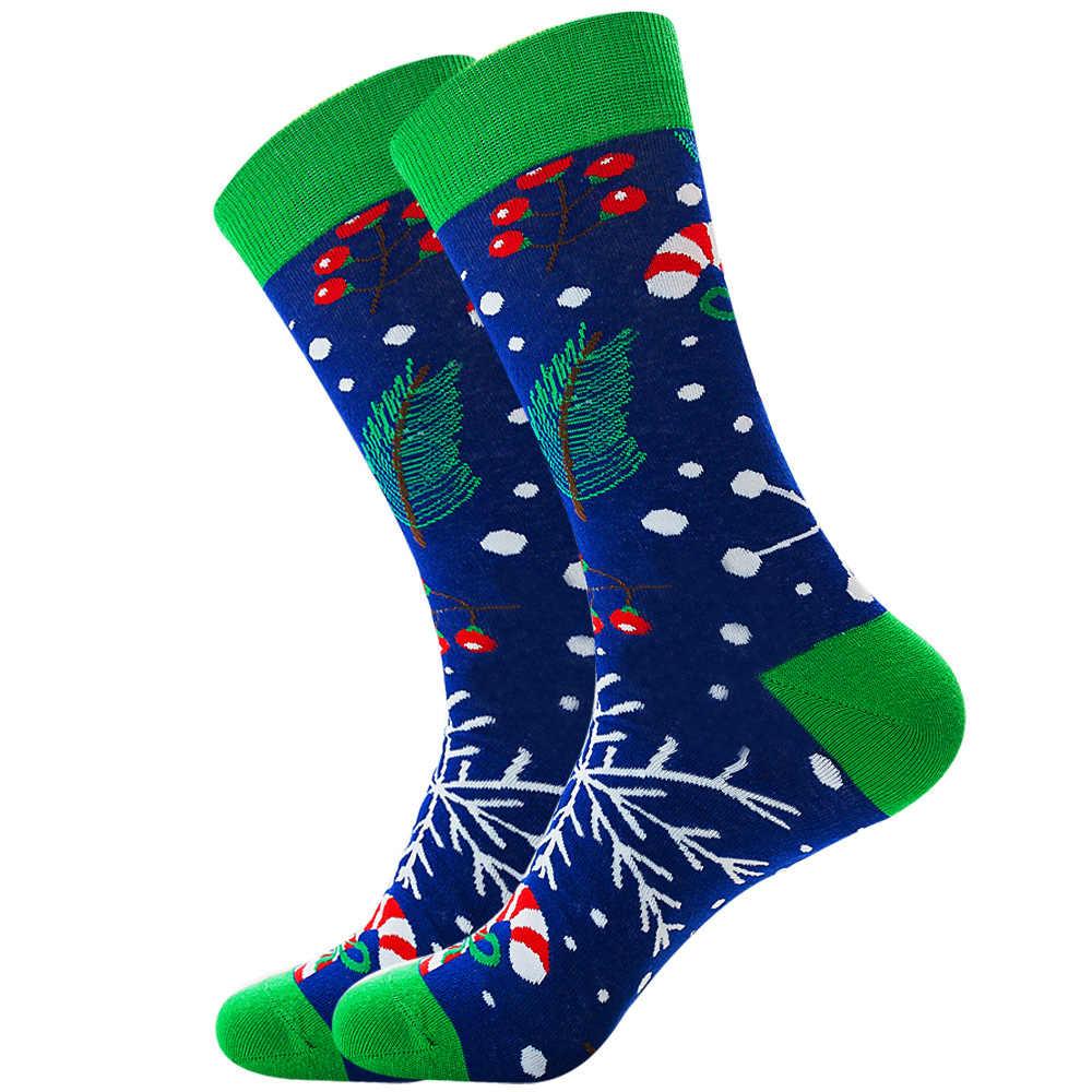 Calcetines de Navidad de algodón para hombres y mujeres nuevos 2019 Otoño Invierno Año Nuevo Santa Claus árbol de Navidad alces en la nieve regalo Happy Socks