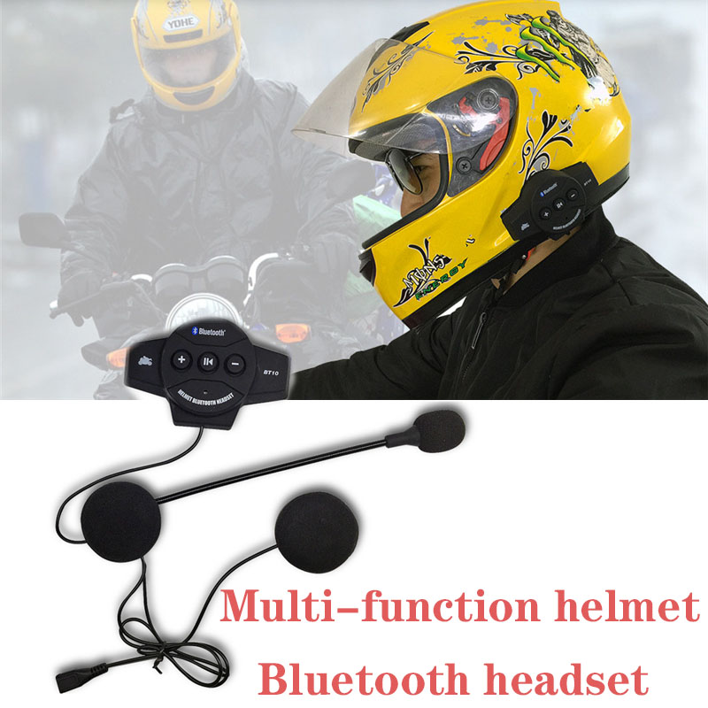 MH03 Motorcycle Helmet Bluetooth Headset Mic Motorbike Headphone for Music GPS