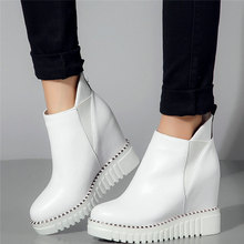 Casual Shoes Women Trainers Genuine Leather High Heel Pumps Shoes Female High Top Fashion Sneakers Wedges Platform Oxfords Shoes dumoo girl super high heel 8cm cow leather casual shoes women sneakers leisure platform shoes wedges casual shoes mixed color