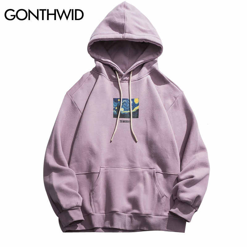 GONTHWID Van Gogh Starry Night Print Fleece Hoodies Sweatshirts Streetwear Men Hip Hop Pullover Hooded Tops Male Harajuku Jumper